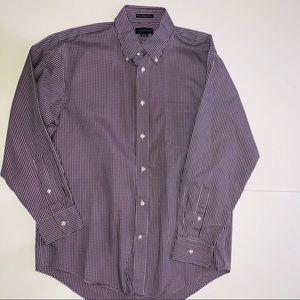 Land's End 16-33 purple checkered dress shirt